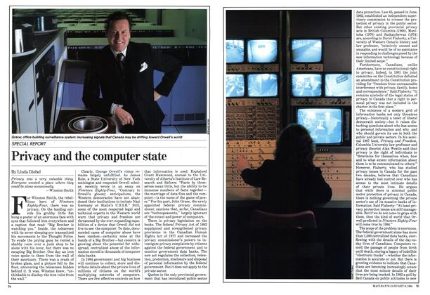 Article Preview: Privacy and the computer state, January 1984 | Maclean's