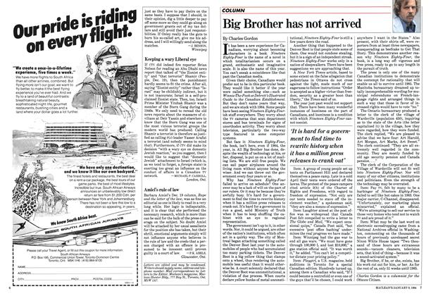 Article Preview: Big Brother has not arrived, January 1984 | Maclean's