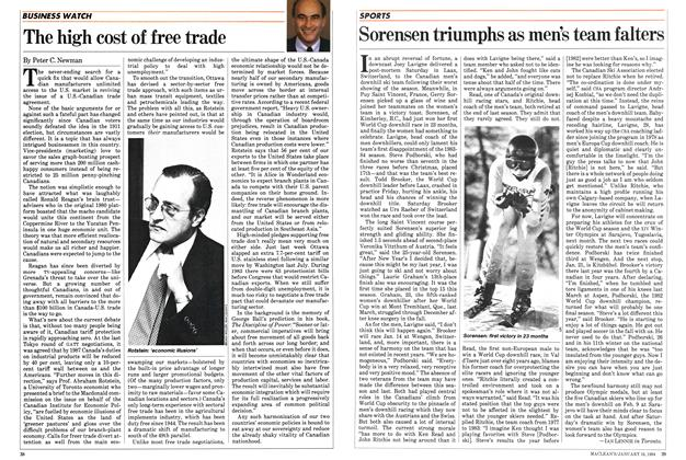Article Preview: The high cost of free trade, January 1984 | Maclean's