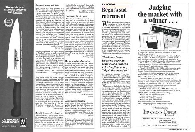 Article Preview: Begin's sad retirement, January 1984   Maclean's