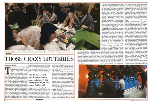 Article Preview: THOSE CRAZY LOTTERIES, January 1984 | Maclean's