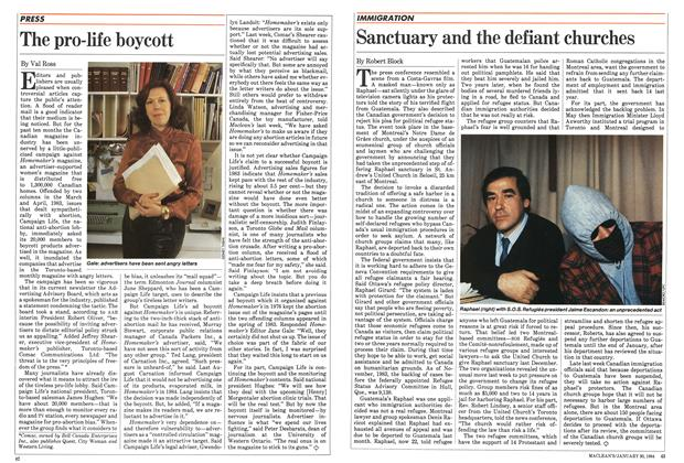 Article Preview: Sanctuary and the defiant churches, January 1984 | Maclean's