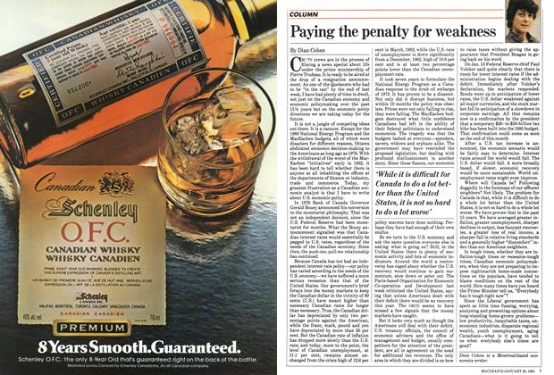 Article Preview: Paying the penalty for weakness, January 1984 | Maclean's