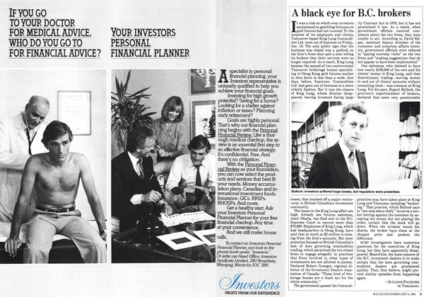 Article Preview: A black eye for B.C. brokers, February 1984 | Maclean's
