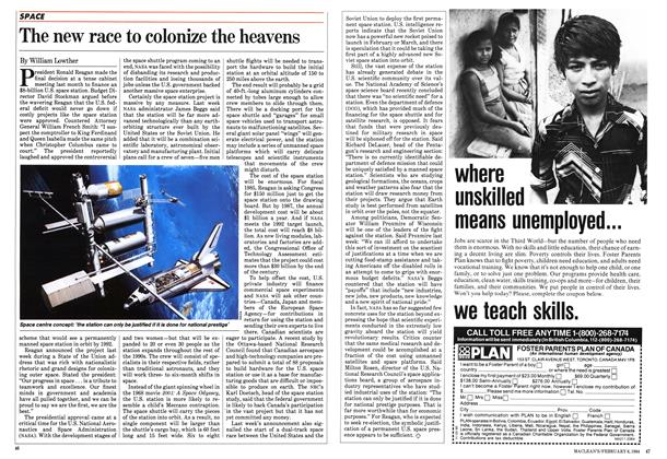 Article Preview: The new race to colonize the heavens, February 1984 | Maclean's