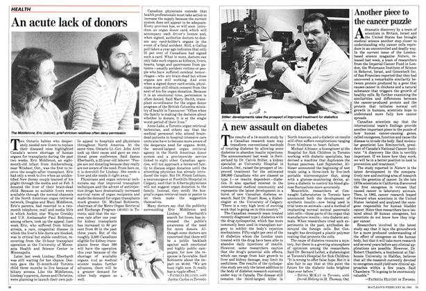 Article Preview: A new assault on diabetes, February 1984 | Maclean's