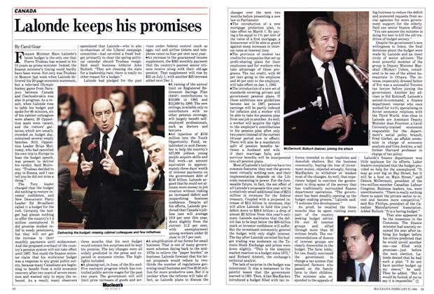 Article Preview: Lalonde keeps his promises, February 1984 | Maclean's
