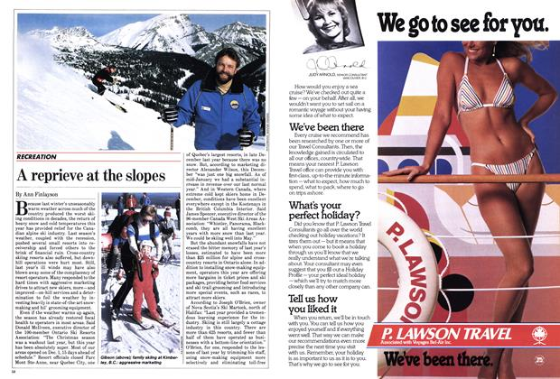 Article Preview: A reprieve at the slopes, February 1984 | Maclean's