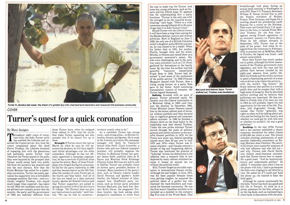 Article Preview: Turner's quest for a quick coronation, March 1984 | Maclean's