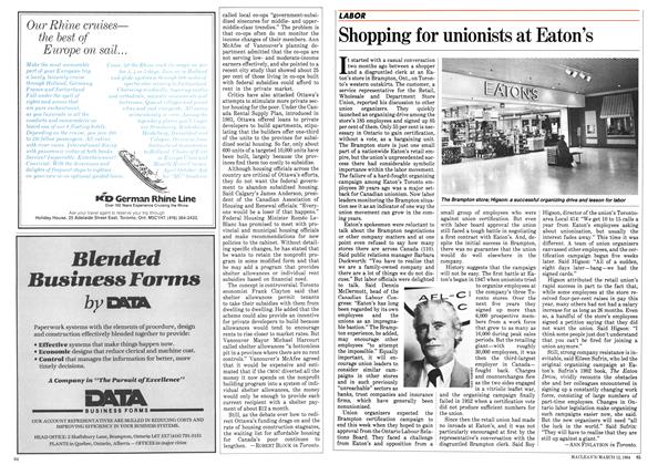 Article Preview: Shopping for unionists at Eaton's, March 1984 | Maclean's