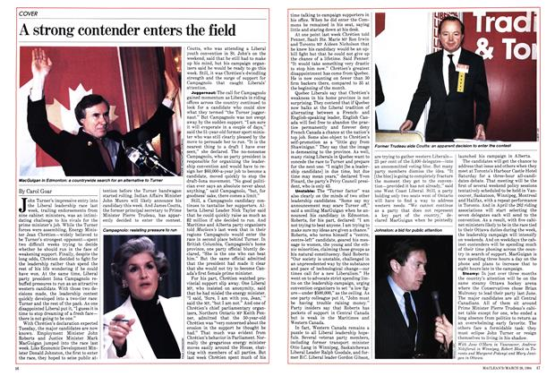 Article Preview: A strong contender enters the field, March 1984 | Maclean's