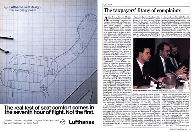 Article Preview: The taxpayers' litany of complaints, March 1984 | Maclean's