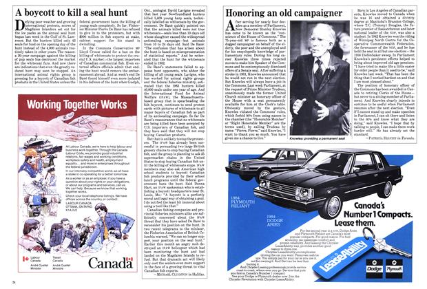 Article Preview: Honoring an old campaigner, March 1984 | Maclean's