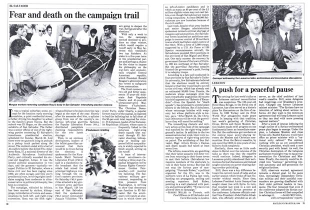 Article Preview: Fear and death on the campaign trail, March 1984 | Maclean's