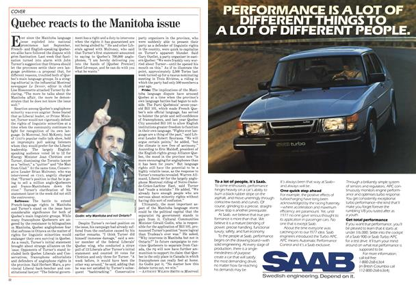 Article Preview: Quebec reacts to the Manitoba issue, April 1984 | Maclean's
