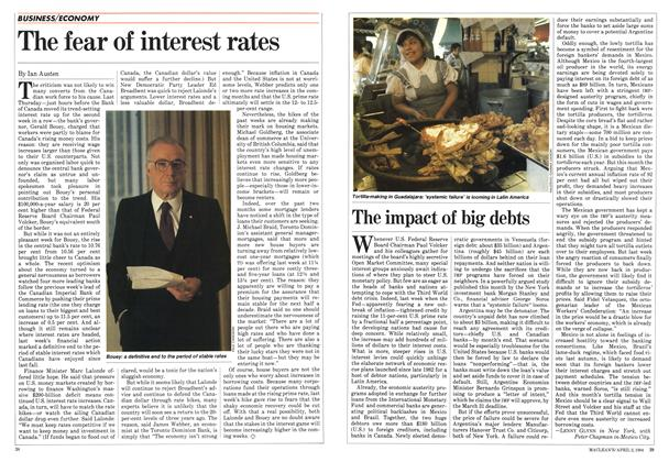 Article Preview: The fear of interest rates, April 1984 | Maclean's