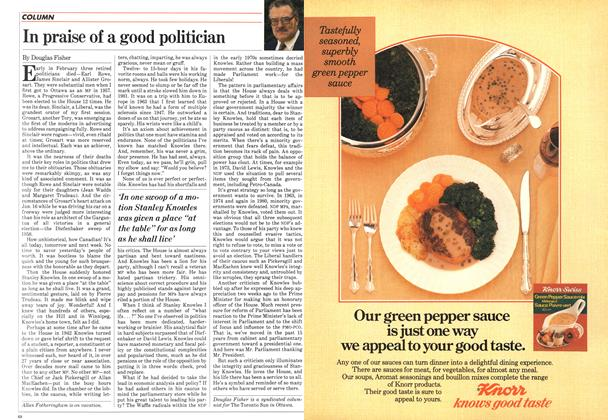 Article Preview: In praise of a good politician, April 1984 | Maclean's