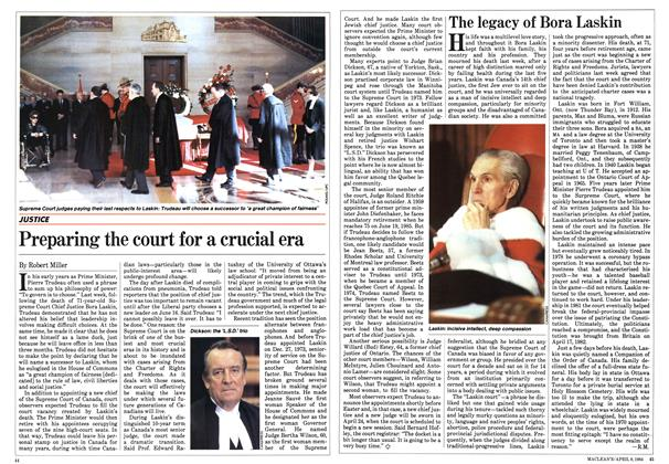 Article Preview: Preparing the court for a crucial era, April 1984 | Maclean's