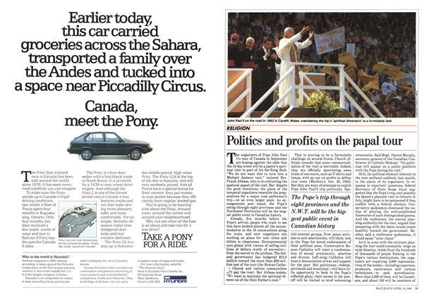 Article Preview: Politics and profits on the papal tour, April 1984 | Maclean's