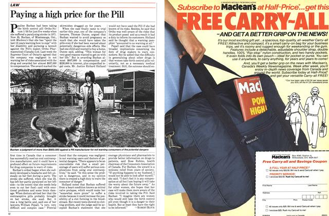 Article Preview: Paying a high price for the Pill, April 1984 | Maclean's
