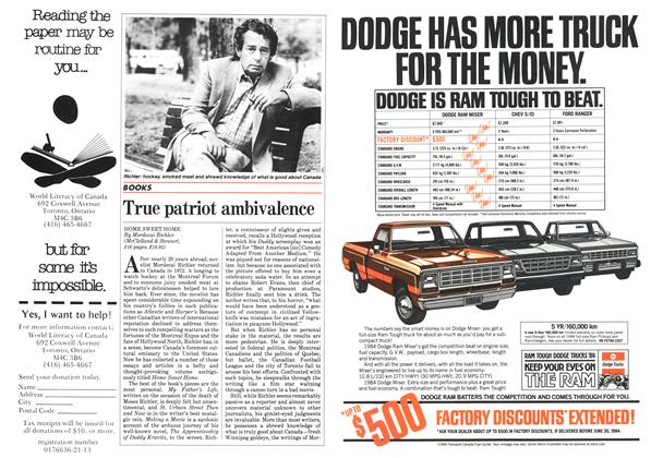 Article Preview: True patriot ambivalence, May 1984   Maclean's
