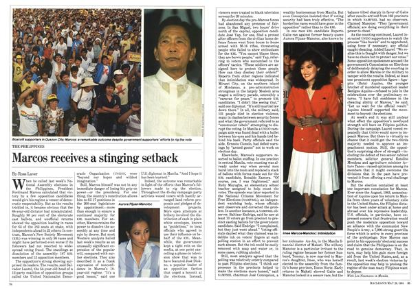 Article Preview: Marcos receives a stinging setback, May 1984 | Maclean's