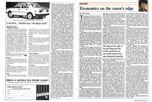 Article Preview: Economics on the razor's edge, June 1984 | Maclean's