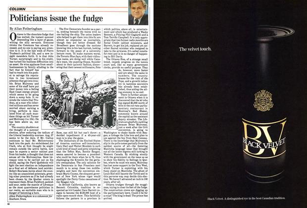 Article Preview: Politicians issue the fudge, June 1984 | Maclean's