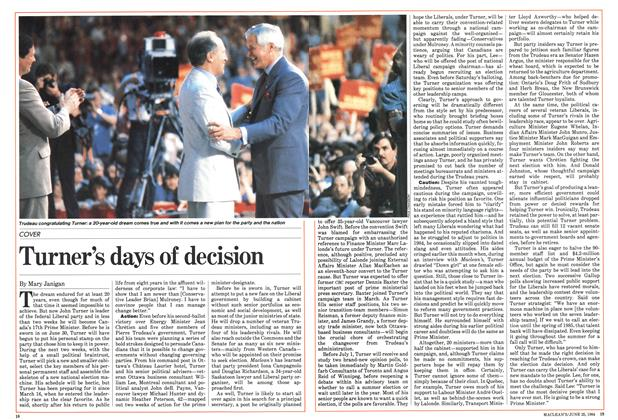 Article Preview: Turner's days of decision, June 1984 | Maclean's