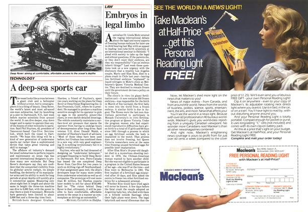 Article Preview: A deep-sea sports car, July 1984 | Maclean's