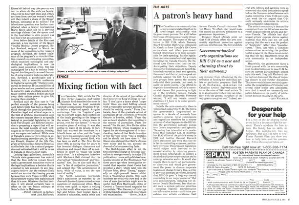 Article Preview: A patron's heavy hand, July 1984 | Maclean's