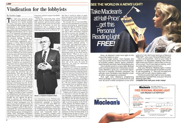 Article Preview: Vindication for the lobbyists, JULY 9,1984 1984 | Maclean's