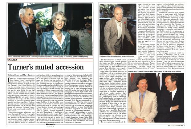 Article Preview: Turner's muted accession, JULY 9,1984 1984 | Maclean's