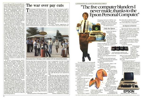 Article Preview: The war over pay cuts, August 1984 | Maclean's
