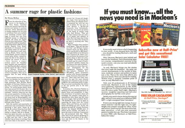 Article Preview: A summer rage for plastic fashions, August 1984 | Maclean's
