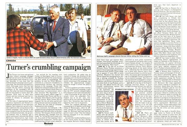 Article Preview: Turner's crumbling campaign, August 1984 | Maclean's