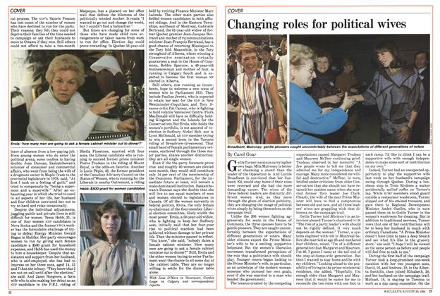 Article Preview: Changing roles for political wives, August 1984   Maclean's