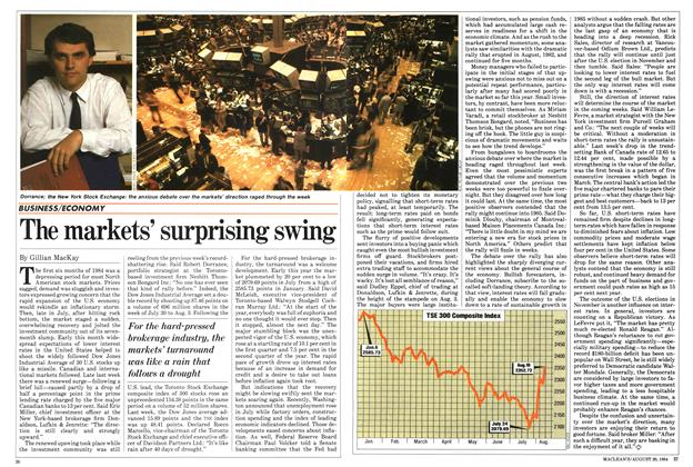 Article Preview: The markets' surprising swing, August 1984   Maclean's