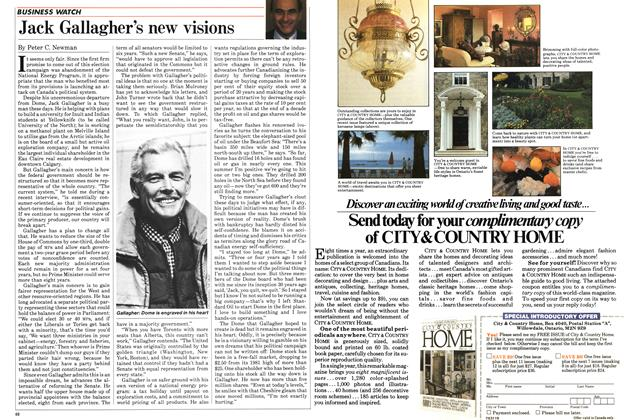 Article Preview: Jack Gallagher's new visions, August 1984   Maclean's