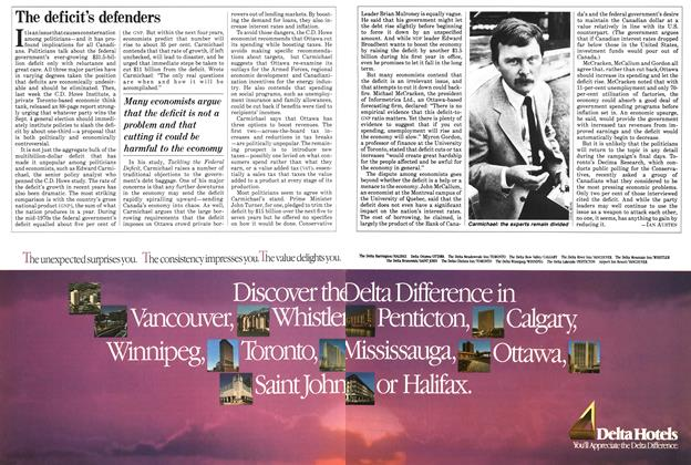 Article Preview: The deficit's defenders, August 1984 | Maclean's