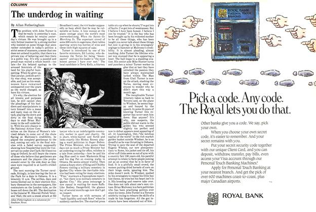 Article Preview: The underdog in waiting, August 1984 | Maclean's