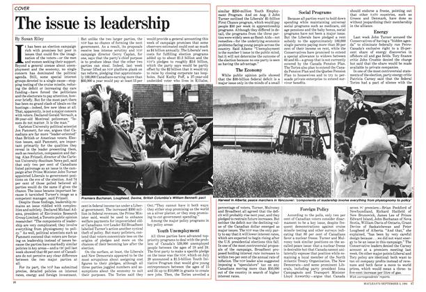 Article Preview: The issue is leadership, September 1984 | Maclean's