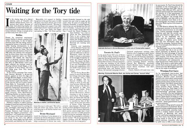 Article Preview: Waiting for the Tory tide, September 1984 | Maclean's