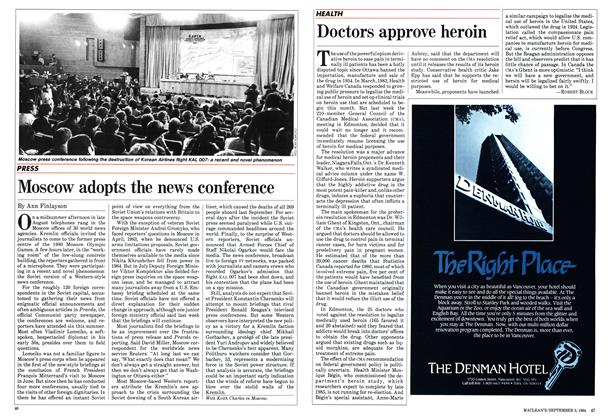 Article Preview: Moscow adopts the news conference, September 1984 | Maclean's