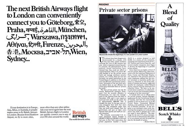 Article Preview: Private sector prisons, September 1984 | Maclean's