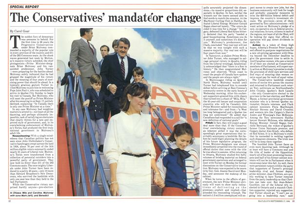 Article Preview: The Conservatives' mandate or change, September 1984 | Maclean's