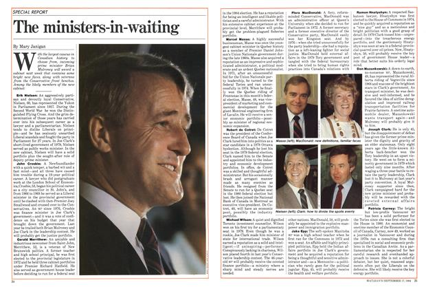 Article Preview: The ministers-in-waiting, September 1984 | Maclean's