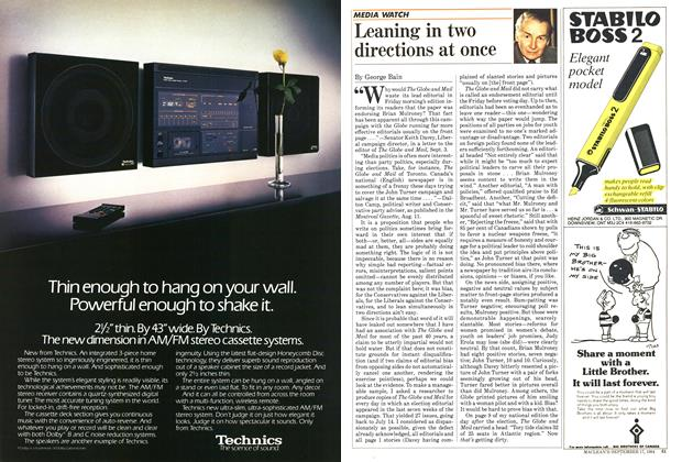 Article Preview: Leaning in two directions at once, September 1984   Maclean's