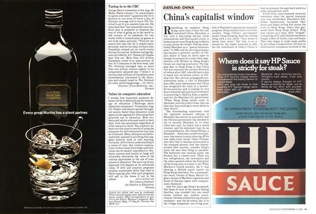 Article Preview: China's capitalist window, September 1984 | Maclean's