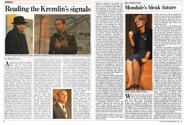 Article Preview: Reading the Kremlin's signals, SEPTEMBER 24,1984 1984 | Maclean's